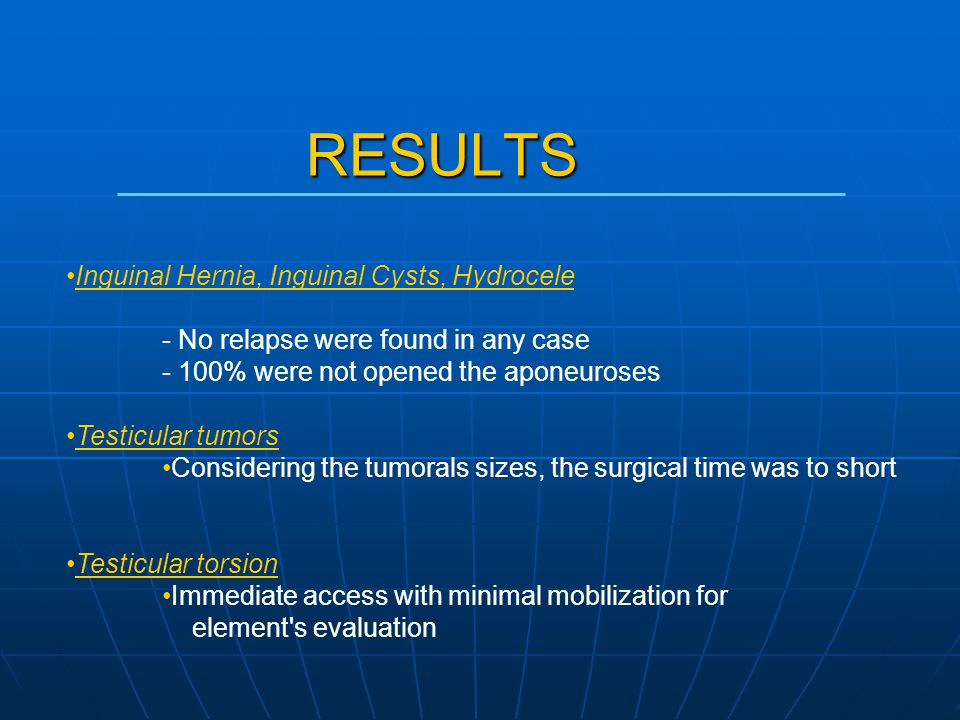 Inguinal Hernia, Inguinal Cysts, Hydrocele - No relapse were found in any case - 100% were not opened the aponeuroses Testicular tumors Considering the tumorals sizes, the surgical time was to short Testicular torsion Immediate access with minimal mobilization for element s evaluation RESULTS