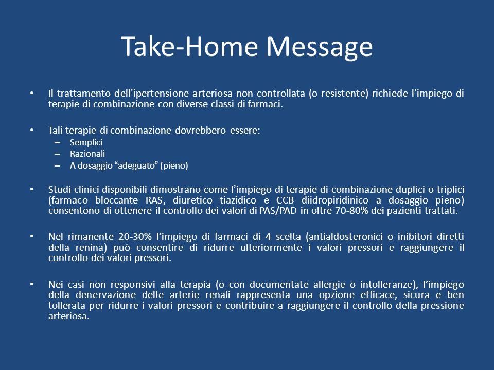 Take-Home Message Il trattamento dell'ipertensione arteriosa non controllata (o resistente) richiede l'impiego di terapie di combinazione con diverse classi di farmaci.