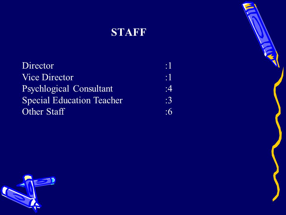 STAFF Director :1 Vice Director:1 Psychlogical Consultant:4 Special Education Teacher:3 Other Staff:6