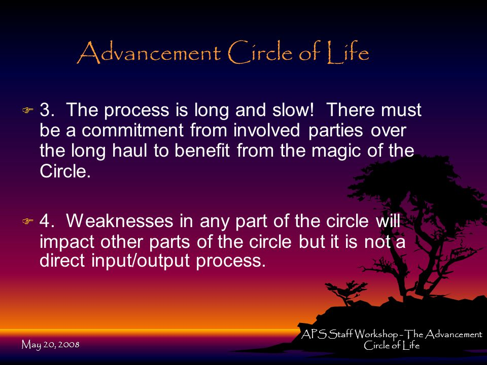 Advancement Circle of Life F F 3. The process is long and slow.