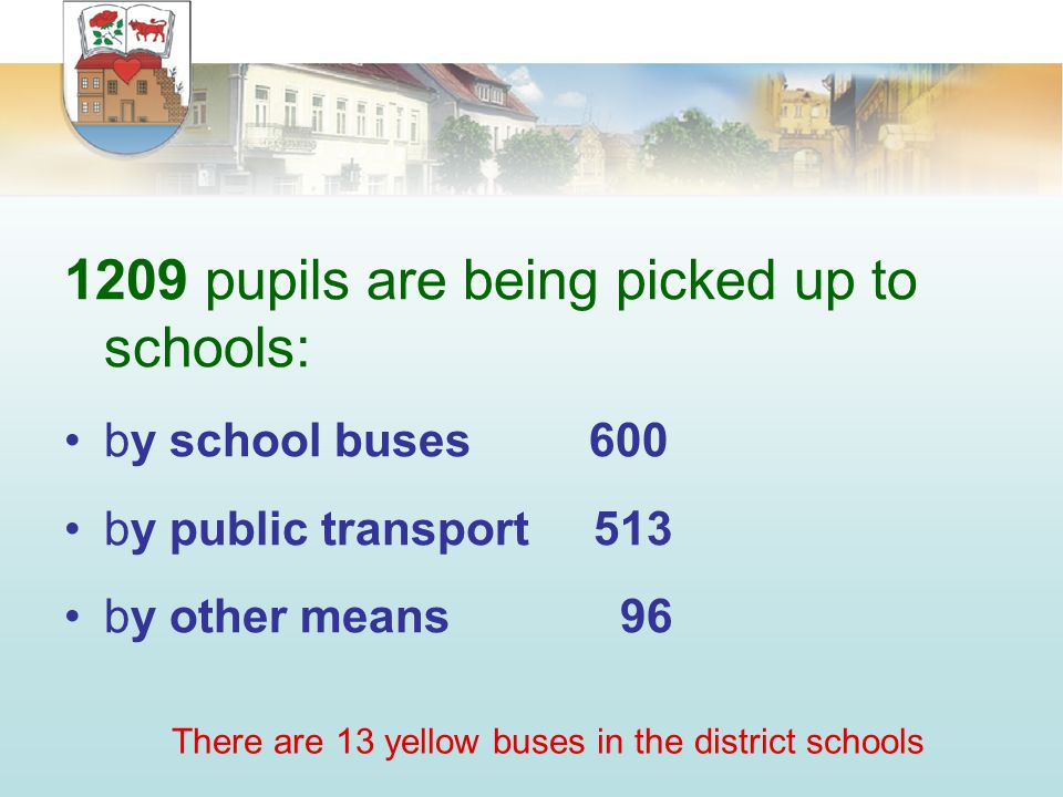 1209 pupils are being picked up to schools: by school buses 600 by public transport 513 by other means 96 There are 13 yellow buses in the district schools