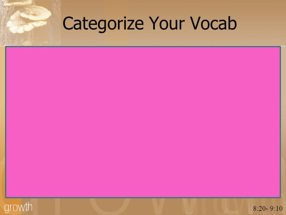 Categorize Your Vocab 8:20- 9:10