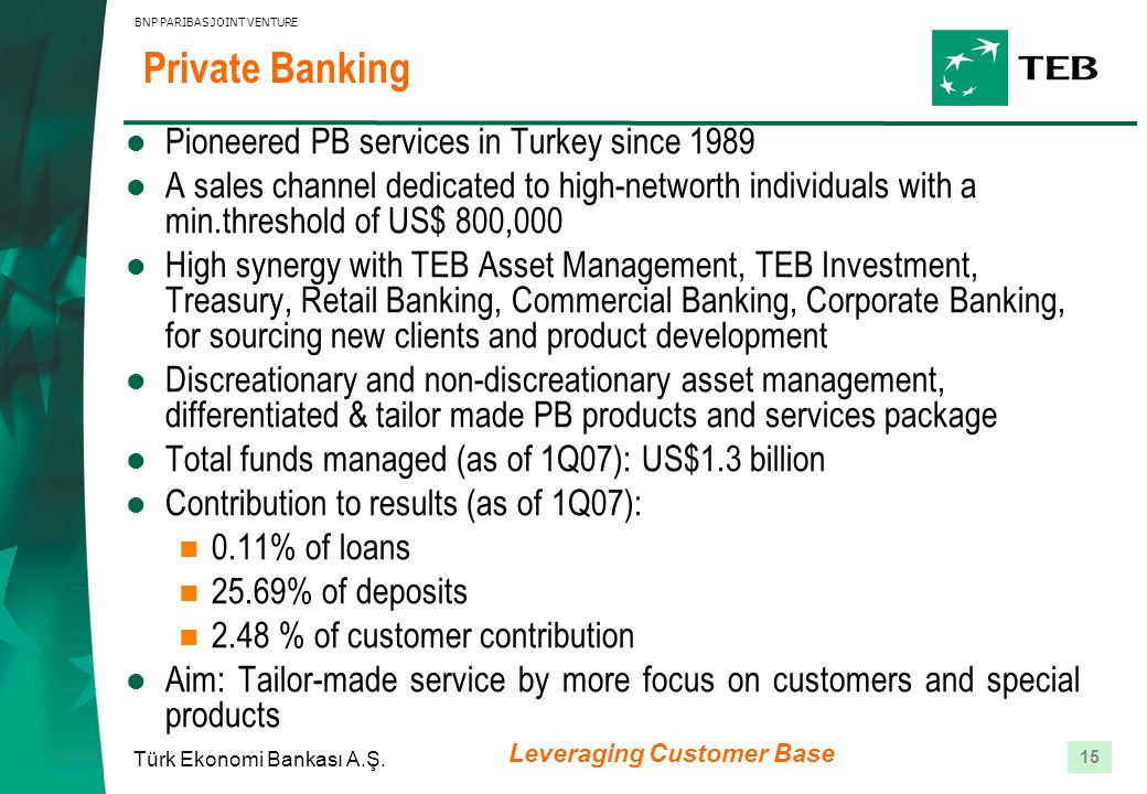 15 Türk Ekonomi Bankası A.Ş. BNP PARIBAS JOINT VENTURE Private Banking Pioneered PB services in Turkey since 1989 A sales channel dedicated to high-ne