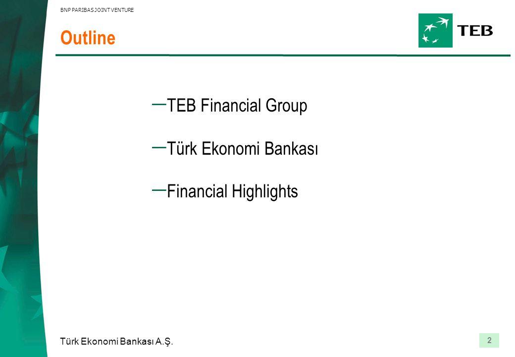2 Türk Ekonomi Bankası A.Ş. BNP PARIBAS JOINT VENTURE Outline  TEB Financial Group  Türk Ekonomi Bankası  Financial Highlights