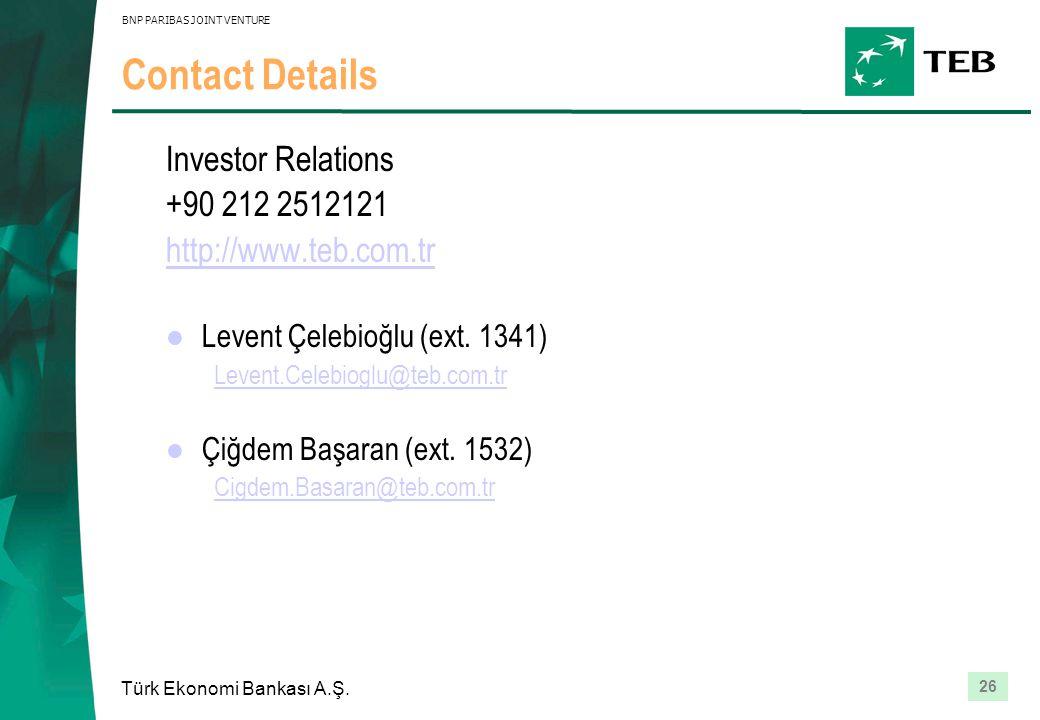 26 Türk Ekonomi Bankası A.Ş. BNP PARIBAS JOINT VENTURE Contact Details Investor Relations +90 212 2512121 http://www.teb.com.tr Levent Çelebioğlu (ext