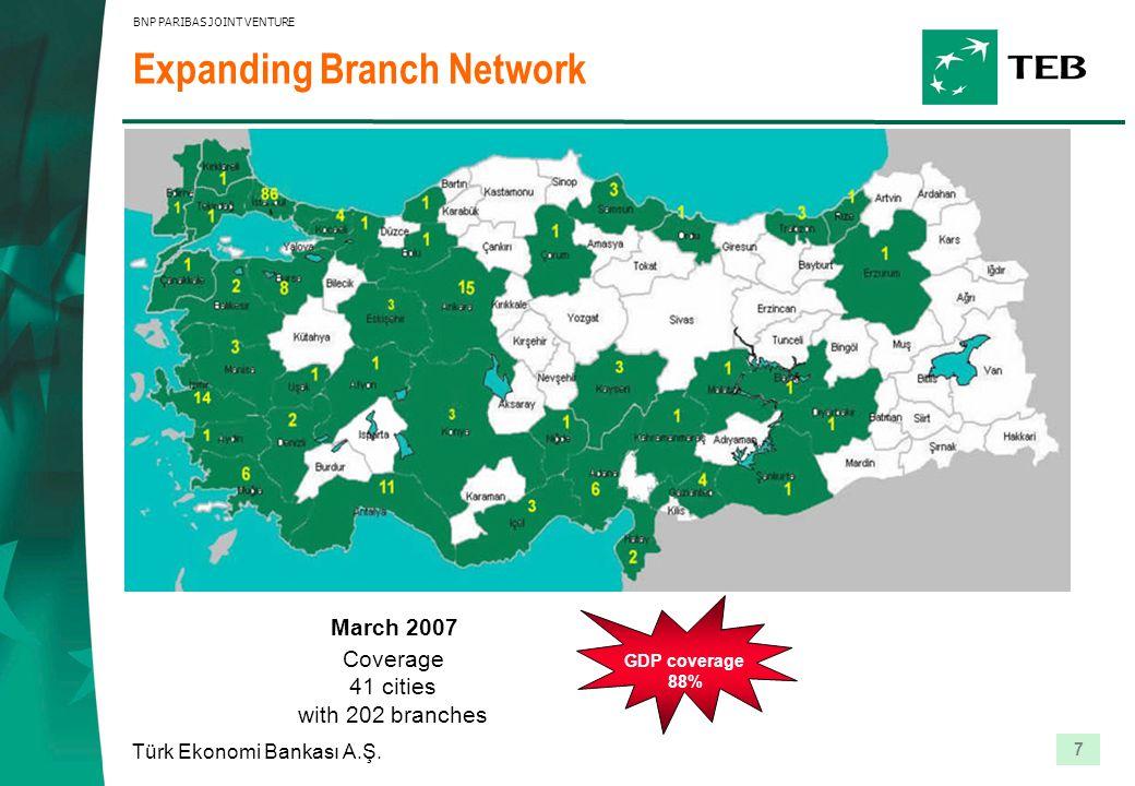 7 Türk Ekonomi Bankası A.Ş. BNP PARIBAS JOINT VENTURE Coverage 41 cities with 202 branches Expanding Branch Network GDP coverage 88% March 2007