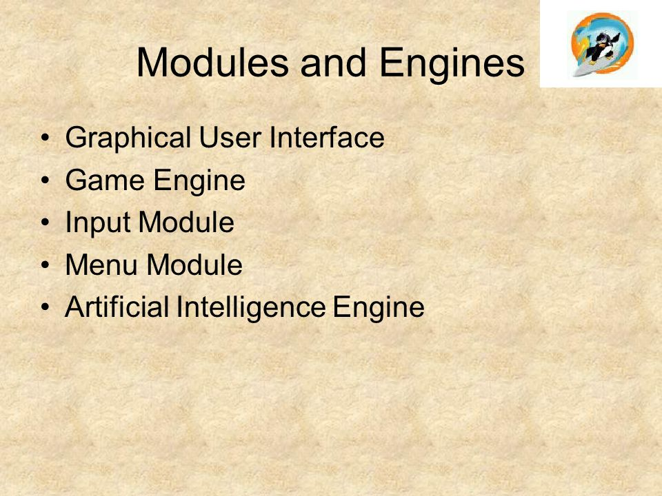 Modules and Engines Graphical User Interface Game Engine Input Module Menu Module Artificial Intelligence Engine