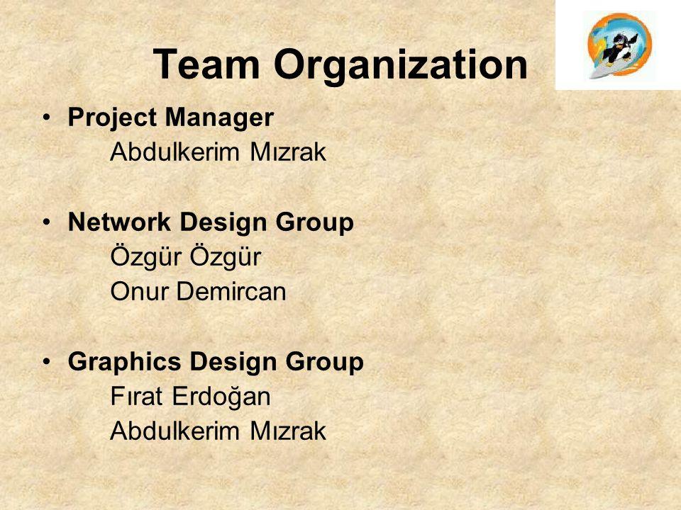 Team Organization Project Manager Abdulkerim Mızrak Network Design Group Özgür Onur Demircan Graphics Design Group Fırat Erdoğan Abdulkerim Mızrak