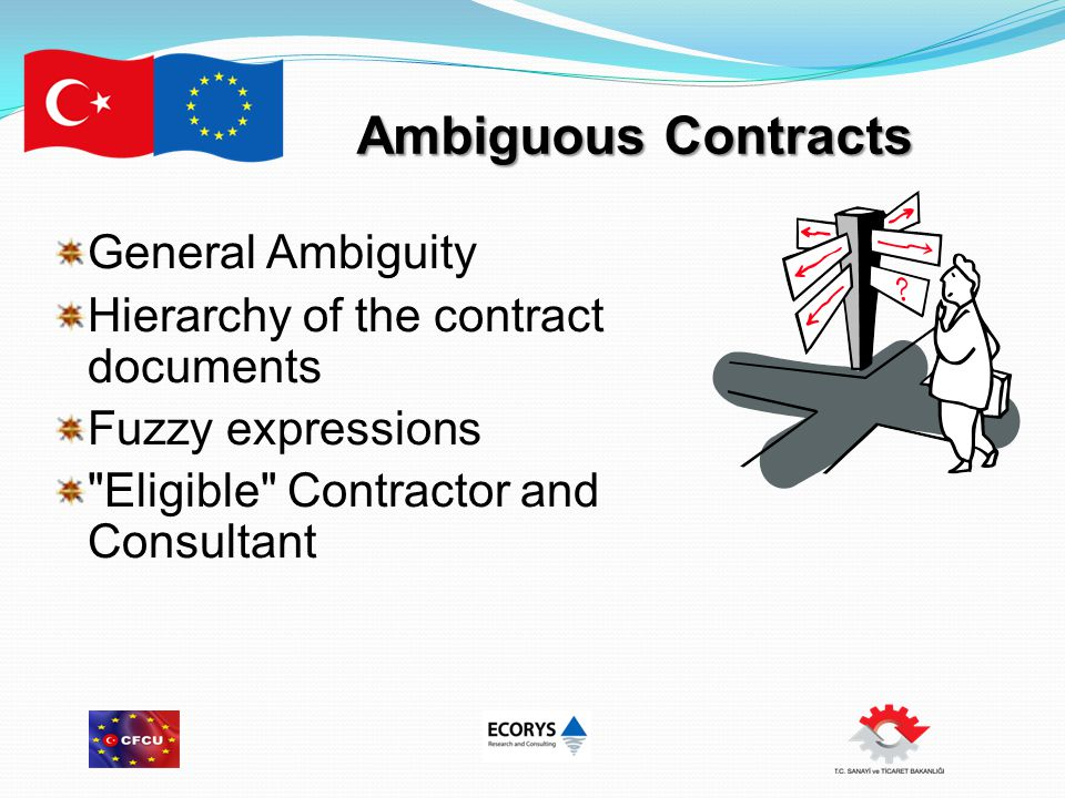 Ambiguous Contracts General Ambiguity Hierarchy of the contract documents Fuzzy expressions Eligible Contractor and Consultant