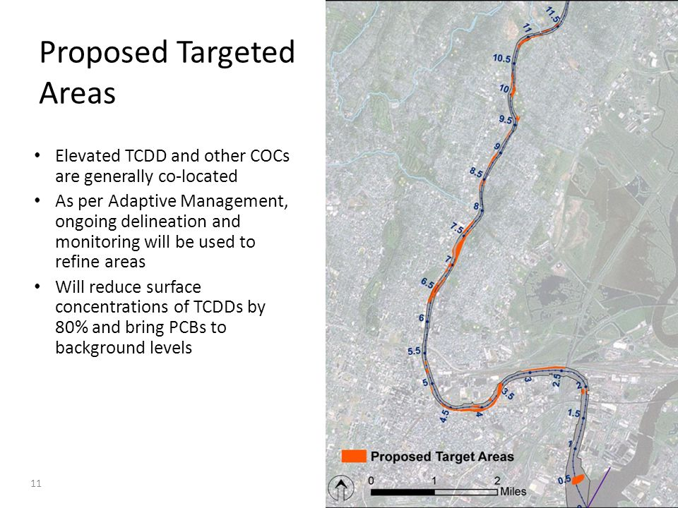 Proposed Targeted Areas Elevated TCDD and other COCs are generally co-located As per Adaptive Management, ongoing delineation and monitoring will be u