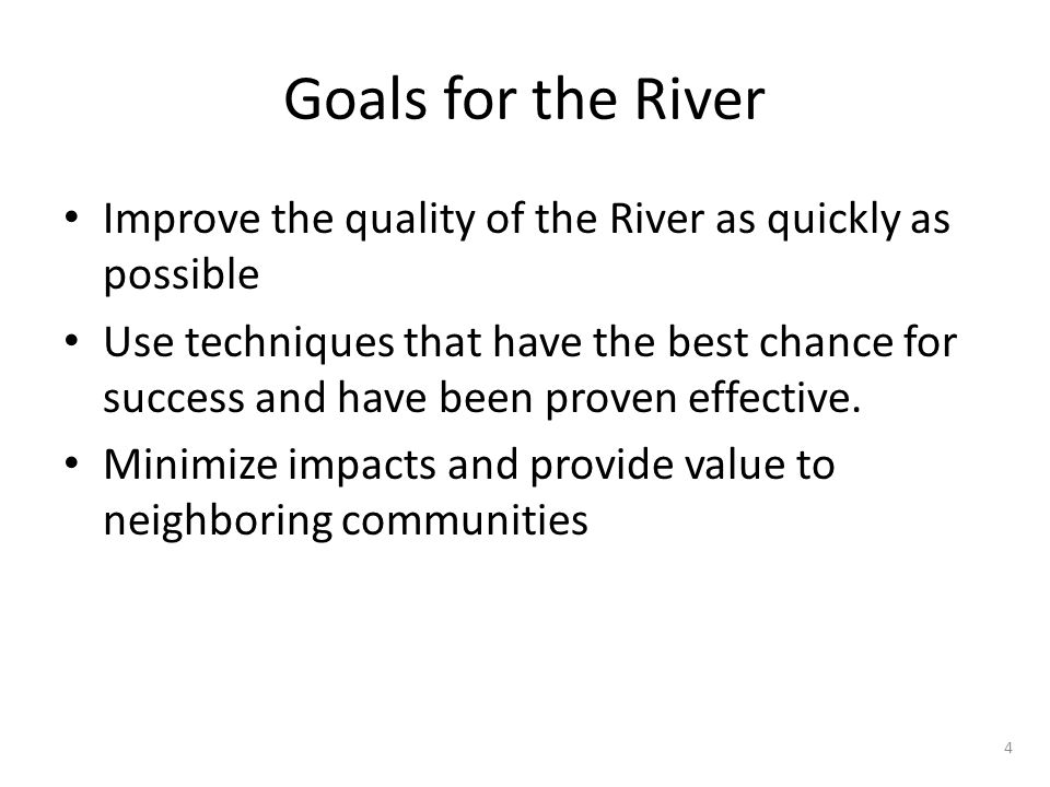 Goals for the River Improve the quality of the River as quickly as possible Use techniques that have the best chance for success and have been proven effective.
