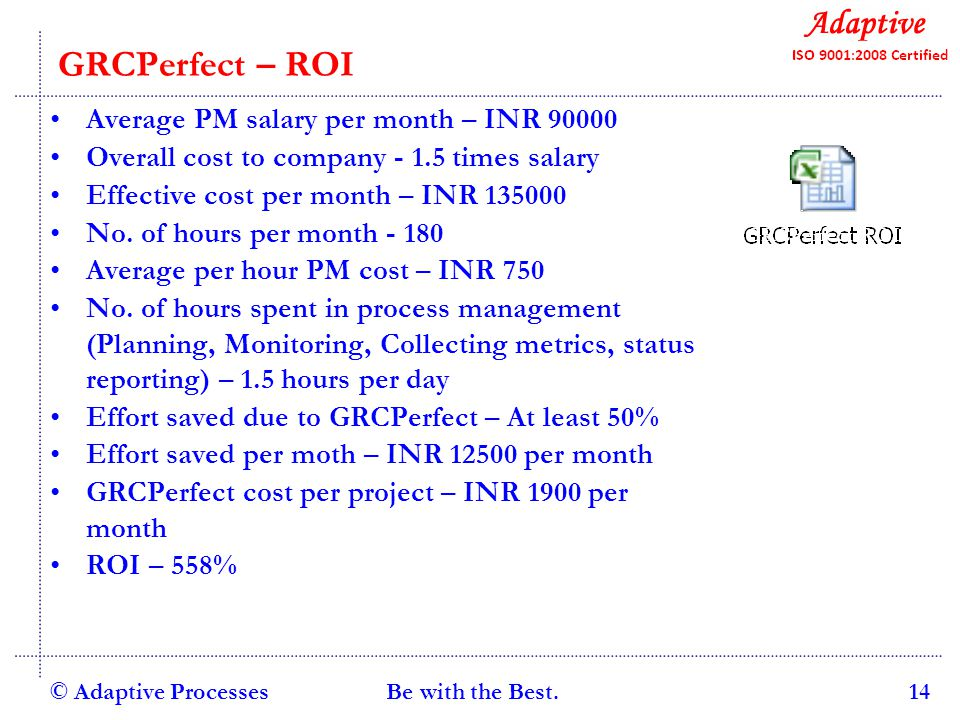 Quality Consulting GRCPerfect – ROI Average PM salary per month – INR 90000 Overall cost to company - 1.5 times salary Effective cost per month – INR 135000 No.