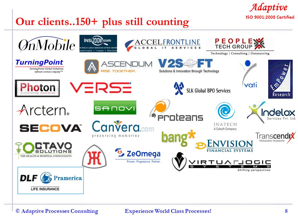 Quality Consulting Our clients..150+ plus still counting © Adaptive Processes ConsultingExperience World Class Processes!8