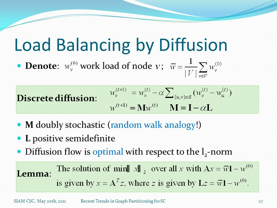 Load Balancing by Diffusion Denote: work load of node ; Discrete diffusion: M doubly stochastic (random walk analogy!) L positive semidefinite Diffusi
