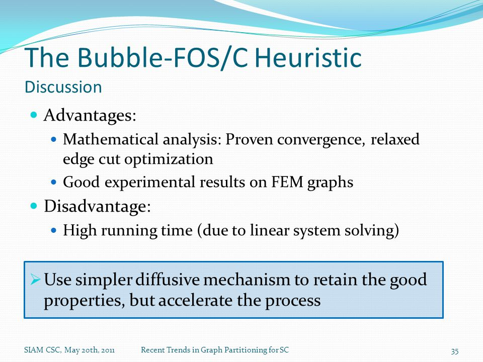 The Bubble-FOS/C Heuristic Discussion Advantages: Mathematical analysis: Proven convergence, relaxed edge cut optimization Good experimental results on FEM graphs Disadvantage: High running time (due to linear system solving)  Use simpler diffusive mechanism to retain the good properties, but accelerate the process SIAM CSC, May 20th, 2011Recent Trends in Graph Partitioning for SC35
