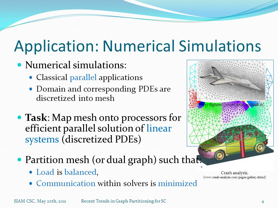 Application: Numerical Simulations Numerical simulations: Classical parallel applications Domain and corresponding PDEs are discretized into mesh Task: Map mesh onto processors for efficient parallel solution of linear systems (discretized PDEs) Partition mesh (or dual graph) such that: Load is balanced, Communication within solvers is minimized YF-17 fighter, [www.aero.polimit.it] Crash analysis, [www.crash-analysis.com/pages/gallery.shtml] SIAM CSC, May 20th, 2011Recent Trends in Graph Partitioning for SC4
