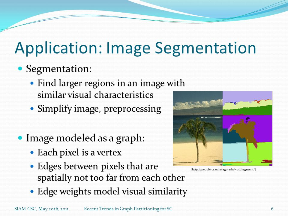 Application: Image Segmentation Segmentation: Find larger regions in an image with similar visual characteristics Simplify image, preprocessing Image modeled as a graph: Each pixel is a vertex Edges between pixels that are spatially not too far from each other Edge weights model visual similarity SIAM CSC, May 20th, 2011Recent Trends in Graph Partitioning for SC6 [http://people.cs.uchicago.edu/~pff/segment/]