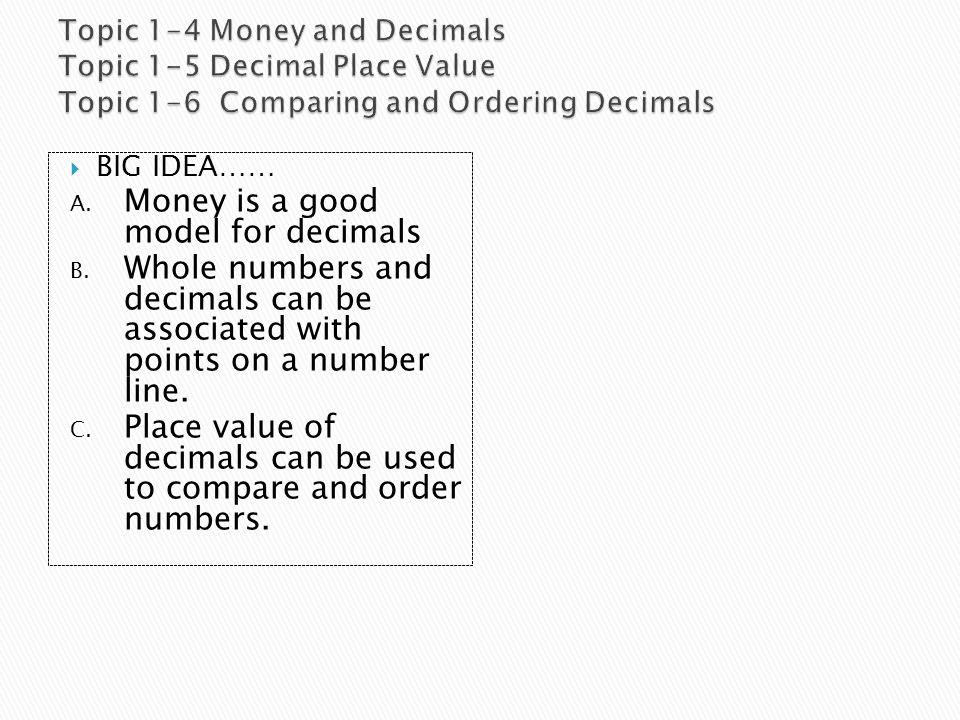  BIG IDEA…… A.Money is a good model for decimals B.