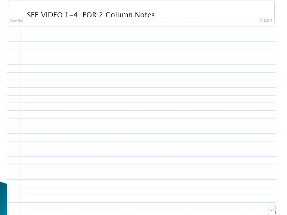 SEE VIDEO 1-4 FOR 2 Column Notes