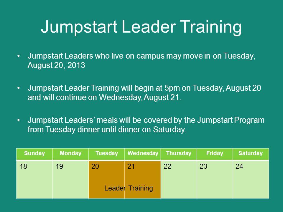 Jumpstart Schedule Jumpstart Participants move into their residence halls Thursday, August 22.