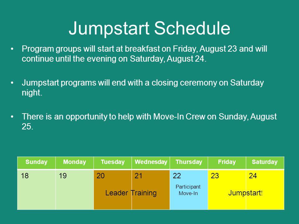 Late August Schedule SundayMondayTuesdayWednesdayThursdayFridaySaturday 18192021222324 25262728293031 Leader Training Participant Move-In Jumpstart.