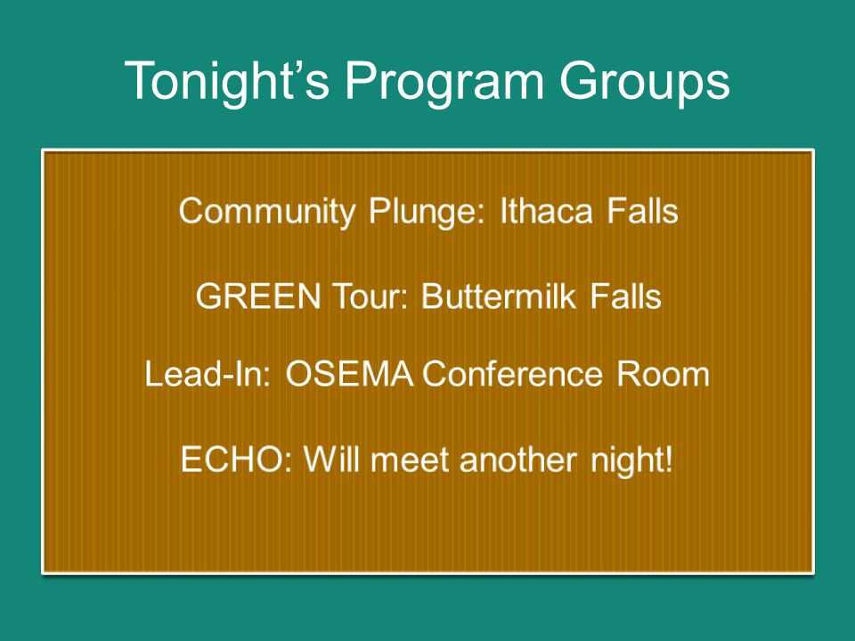 Tonight's Program Groups
