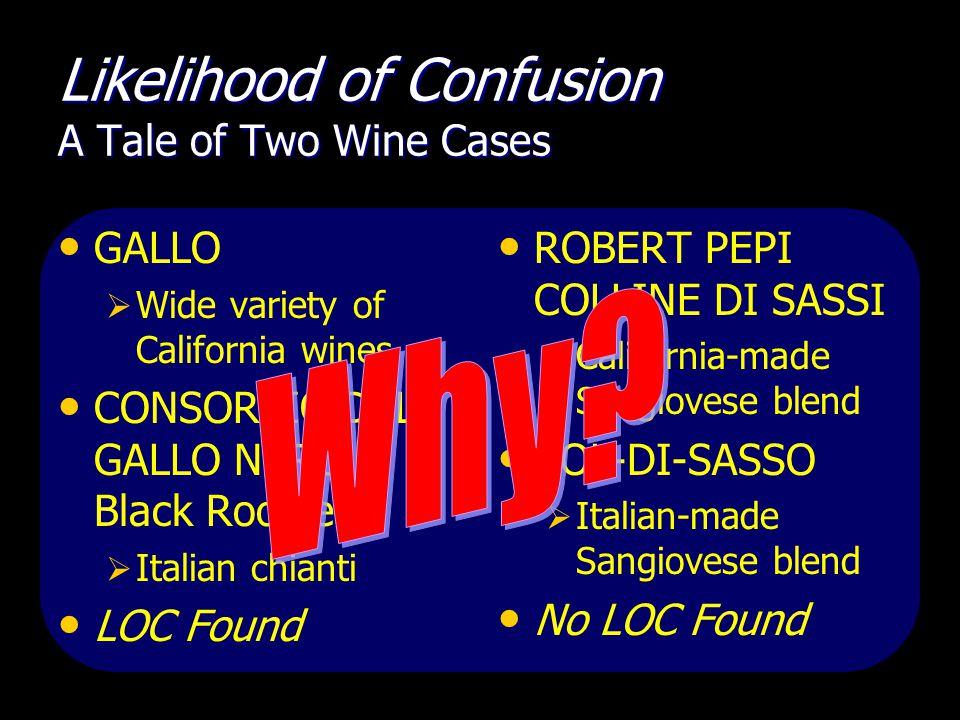 Likelihood of Confusion A Tale of Two Wine Cases GALLO  Wide variety of California wines CONSORZIO DEL GALLO NERO + Black Rooster  Italian chianti LOC Found ROBERT PEPI COLLINE DI SASSI  California-made Sangiovese blend COL-DI-SASSO  Italian-made Sangiovese blend No LOC Found