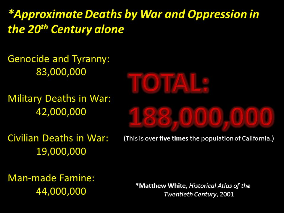 *Approximate Deaths by War and Oppression in the 20 th Century alone Genocide and Tyranny: 83,000,000 Military Deaths in War: 42,000,000 Civilian Deaths in War: 19,000,000 Man-made Famine: 44,000,000 *Matthew White, Historical Atlas of the Twentieth Century, 2001 (This is over five times the population of California.)
