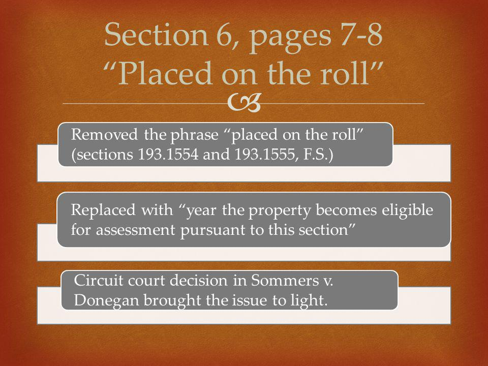 " Removed the phrase ""placed on the roll"" (sections 193.1554 and 193.1555, F.S.) Replaced with ""year the property becomes eligible for assessment purs"