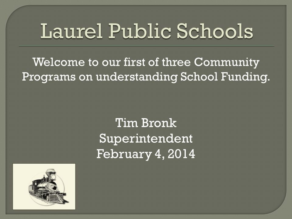 Welcome to our first of three Community Programs on understanding School Funding.