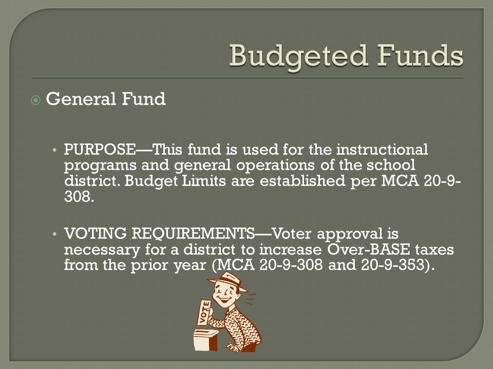 General Fund PURPOSE—This fund is used for the instructional programs and general operations of the school district. Budget Limits are established p