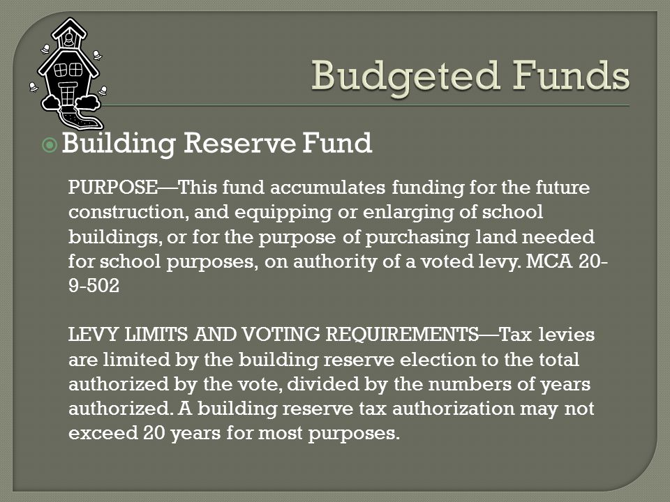  Building Reserve Fund PURPOSE—This fund accumulates funding for the future construction, and equipping or enlarging of school buildings, or for the