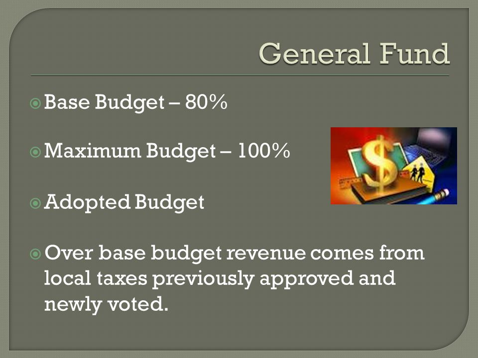  Base Budget – 80%  Maximum Budget – 100%  Adopted Budget  Over base budget revenue comes from local taxes previously approved and newly voted.
