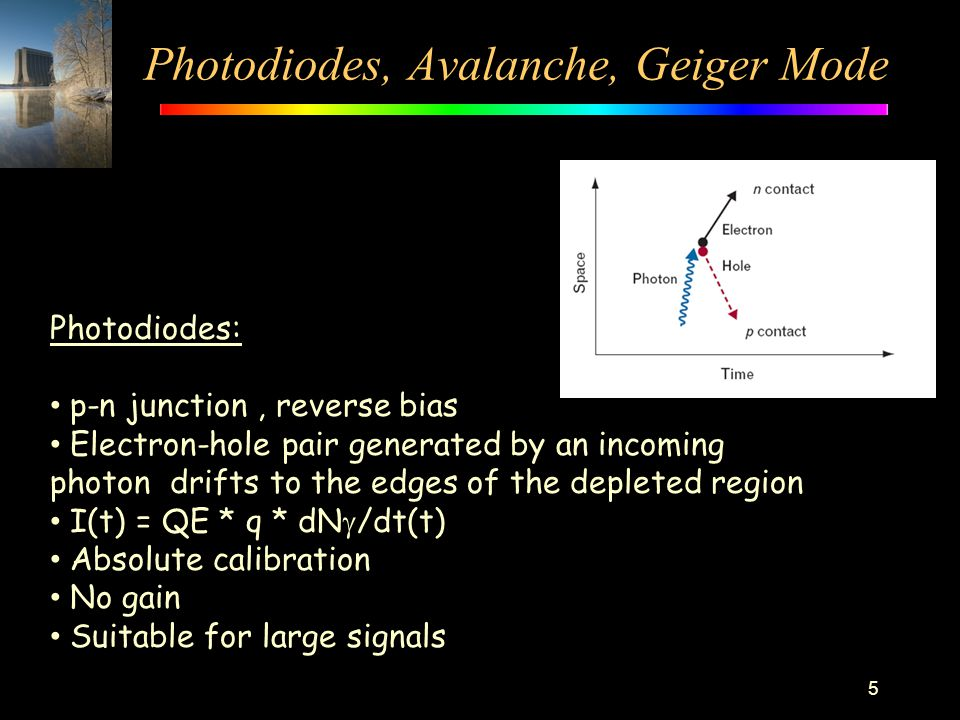 Photodiodes, Avalanche, Geiger Mode 5 Photodiodes: p-n junction, reverse bias Electron-hole pair generated by an incoming photon drifts to the edges o