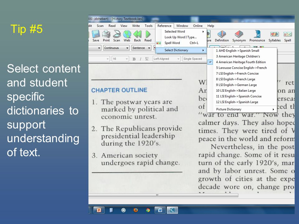 Tip #5 Select content and student specific dictionaries to support understanding of text.