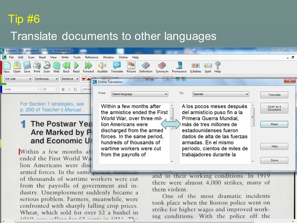 Tip #6 Translate documents to other languages