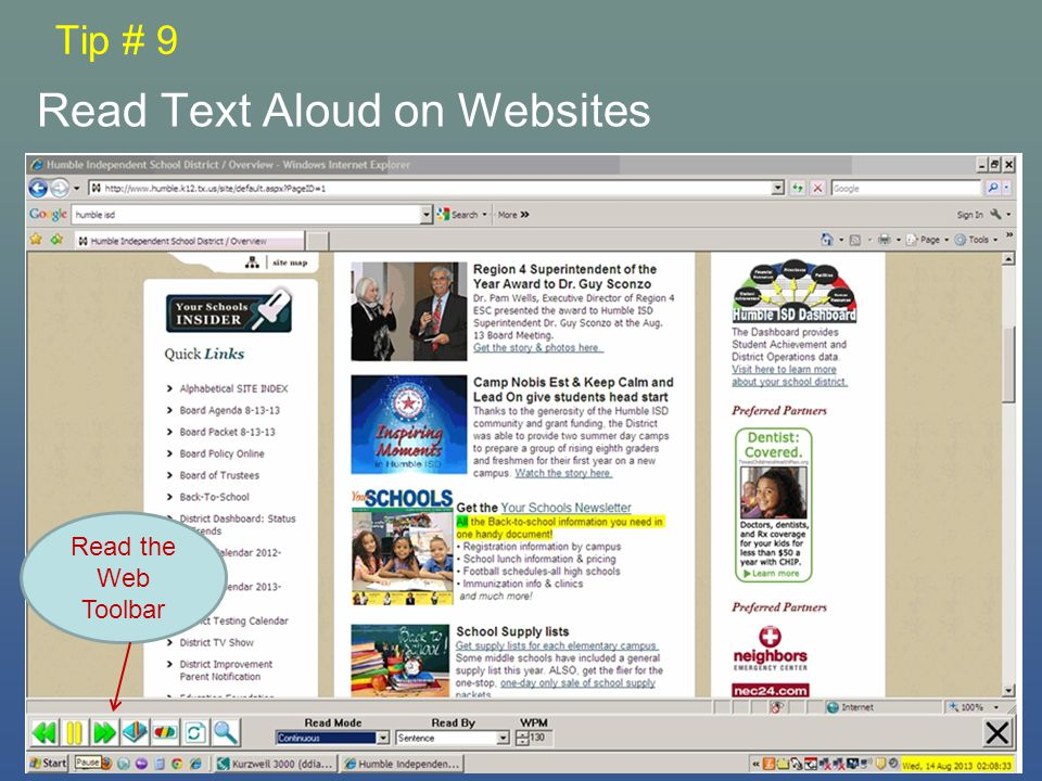 Tip # 9 Read Text Aloud on Websites Read the Web Toolbar