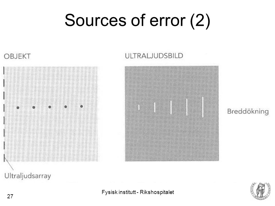 Fysisk institutt - Rikshospitalet 27 Sources of error (2)