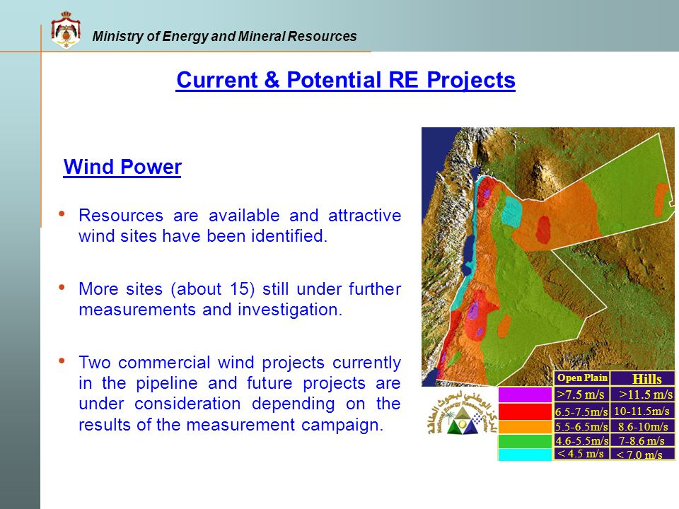 Ministry of Energy and Mineral Resources According to the Master Plan the required investment in the energy sector is around $14-18 billion over the period ( 2008-2020) Power Sector $4800-5800mm Oil Sector $3400 mm Oil Shale Exploration $1400-3800 mm Natural Gas $2400 mm Renewable Energy $1400-2100 mm Energy Efficiency $80-150 mm