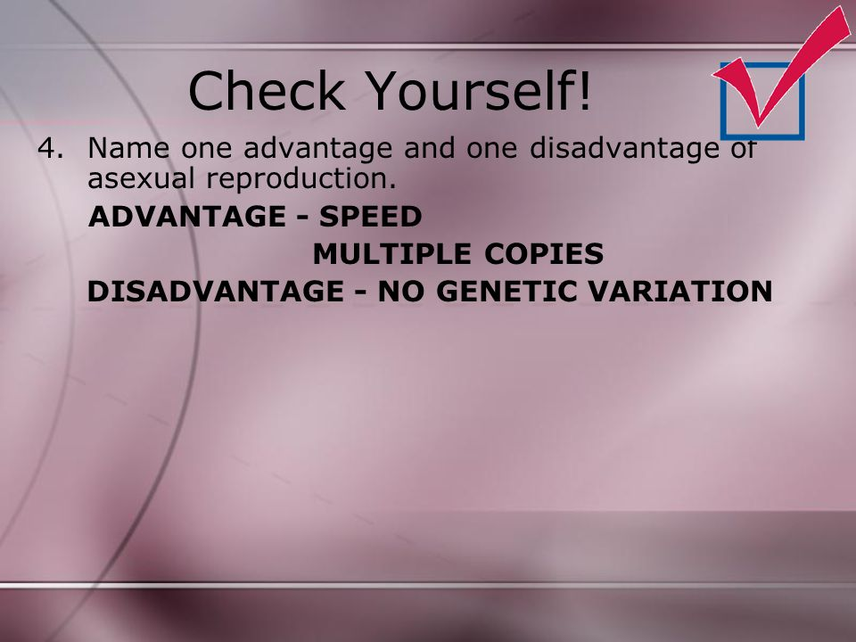 Check Yourself! 4.Name one advantage and one disadvantage of asexual reproduction. ADVANTAGE - SPEED MULTIPLE COPIES DISADVANTAGE - NO GENETIC VARIATI