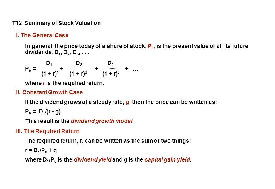 T12 Summary of Stock Valuation I.