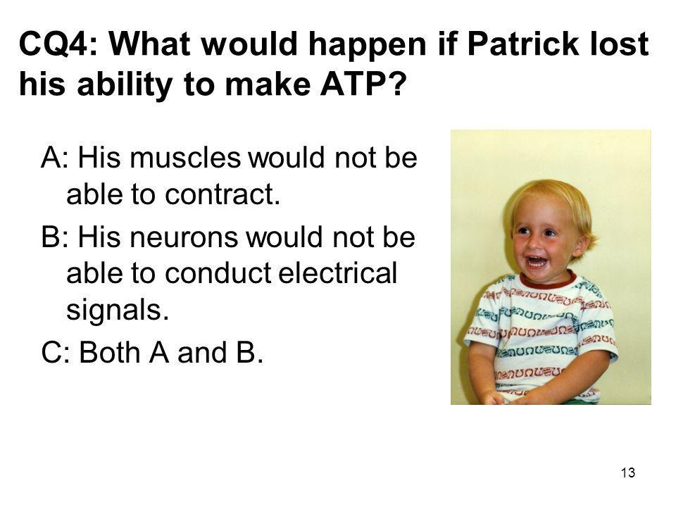 CQ4: What would happen if Patrick lost his ability to make ATP.