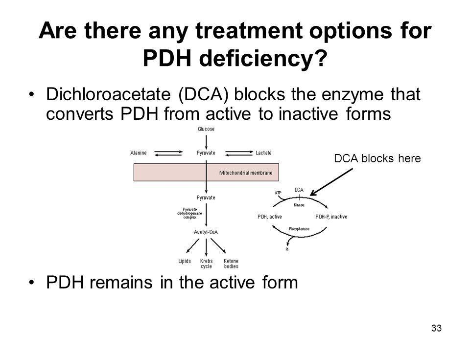 Are there any treatment options for PDH deficiency.