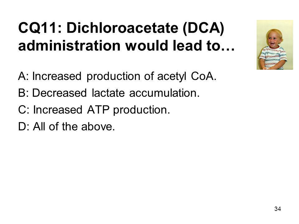 CQ11: Dichloroacetate (DCA) administration would lead to… A: Increased production of acetyl CoA.