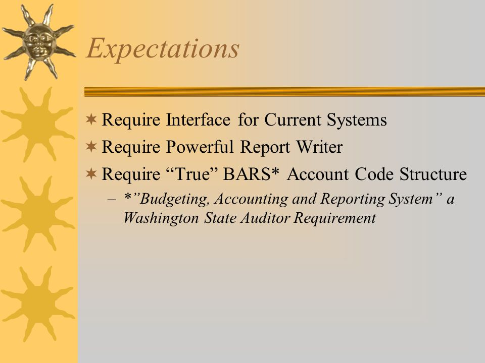 Expectations  Require Interface for Current Systems  Require Powerful Report Writer  Require True BARS* Account Code Structure –* Budgeting, Accounting and Reporting System a Washington State Auditor Requirement