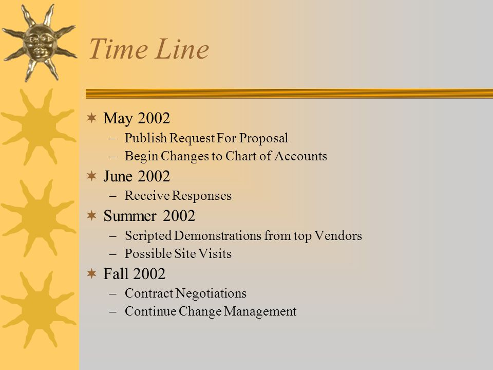 Time Line  May 2002 –Publish Request For Proposal –Begin Changes to Chart of Accounts  June 2002 –Receive Responses  Summer 2002 –Scripted Demonstr
