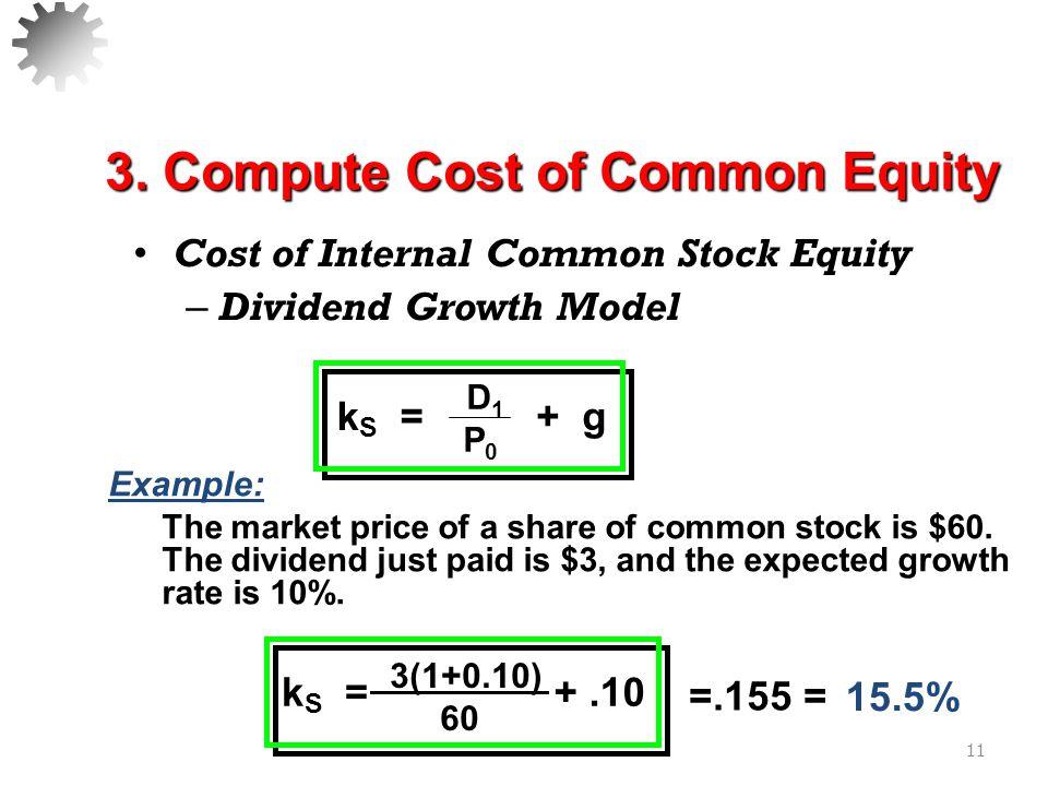 Cost of Internal Common Stock Equity – Capital Asset Pricing Model (Chapter 7) 12 k S = k RF +  (k M – k RF ) 3.