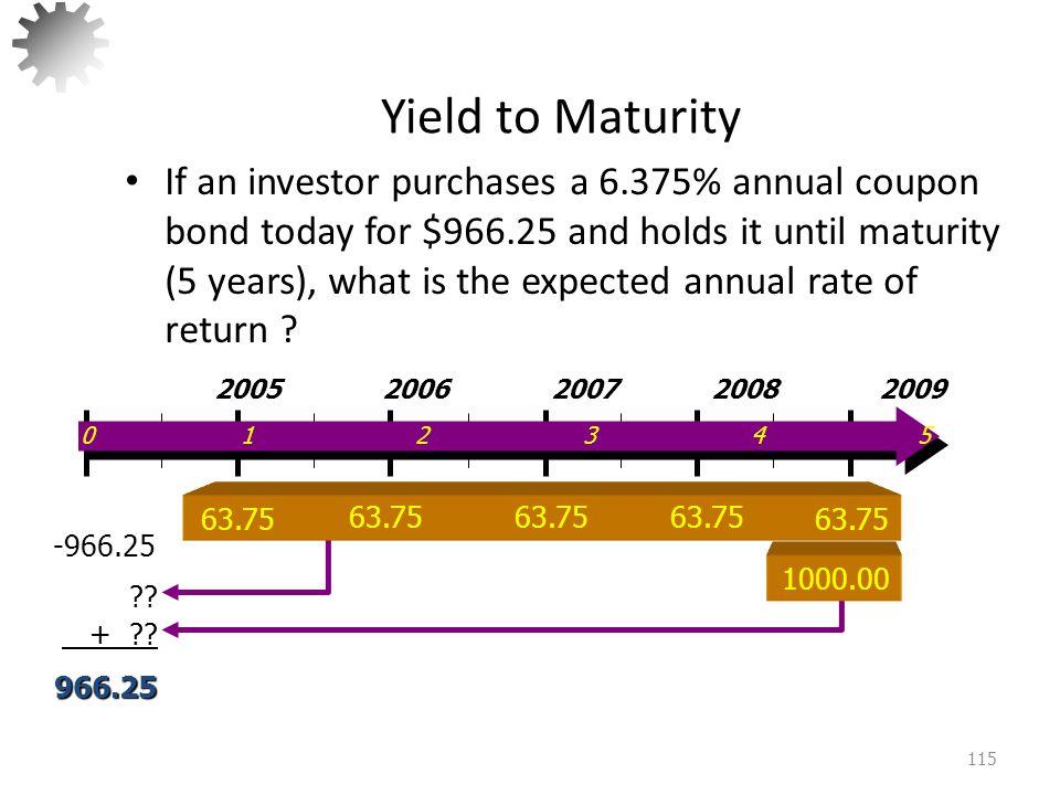 Yield to Maturity 116 V B = 63.75(PVIFA 5, x% ) + 1000(PVIF 5,x% ) Solve by trial and error.