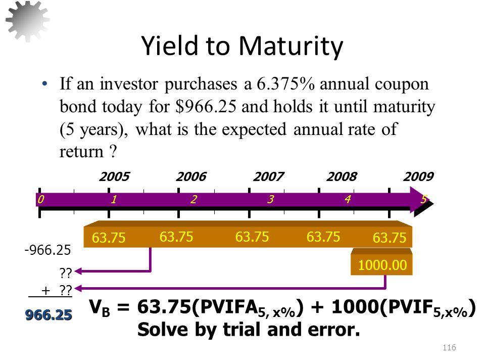 Yield to Maturity 7.203% 117 Calculator Solution: NI/YRPVPMTFV 5 .