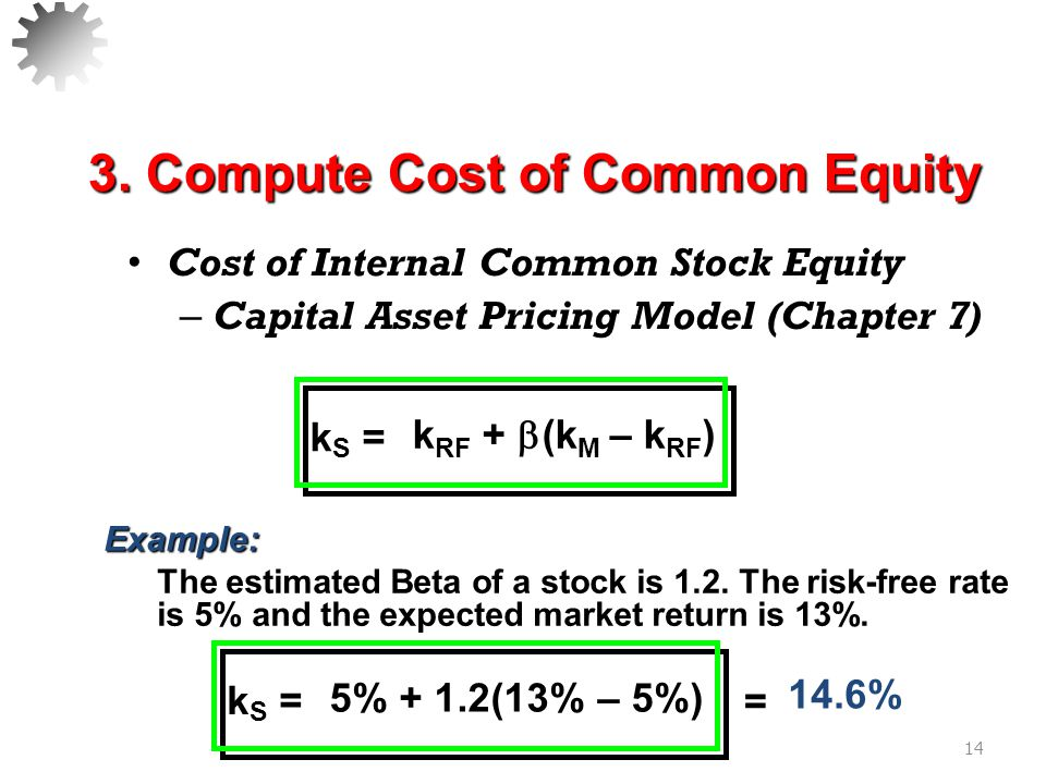Cost of New Common Stock – Must adjust the Dividend Growth Model equation for floatation costs of the new common shares.